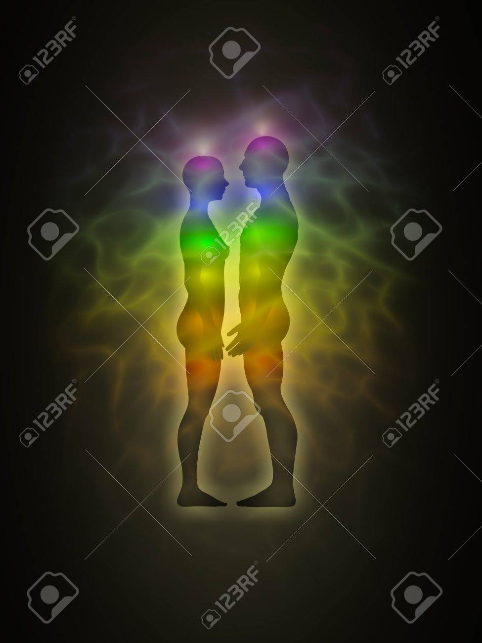 Woman and man silhouette with aura, chakras, energy - profile Stock Photo - 12295354