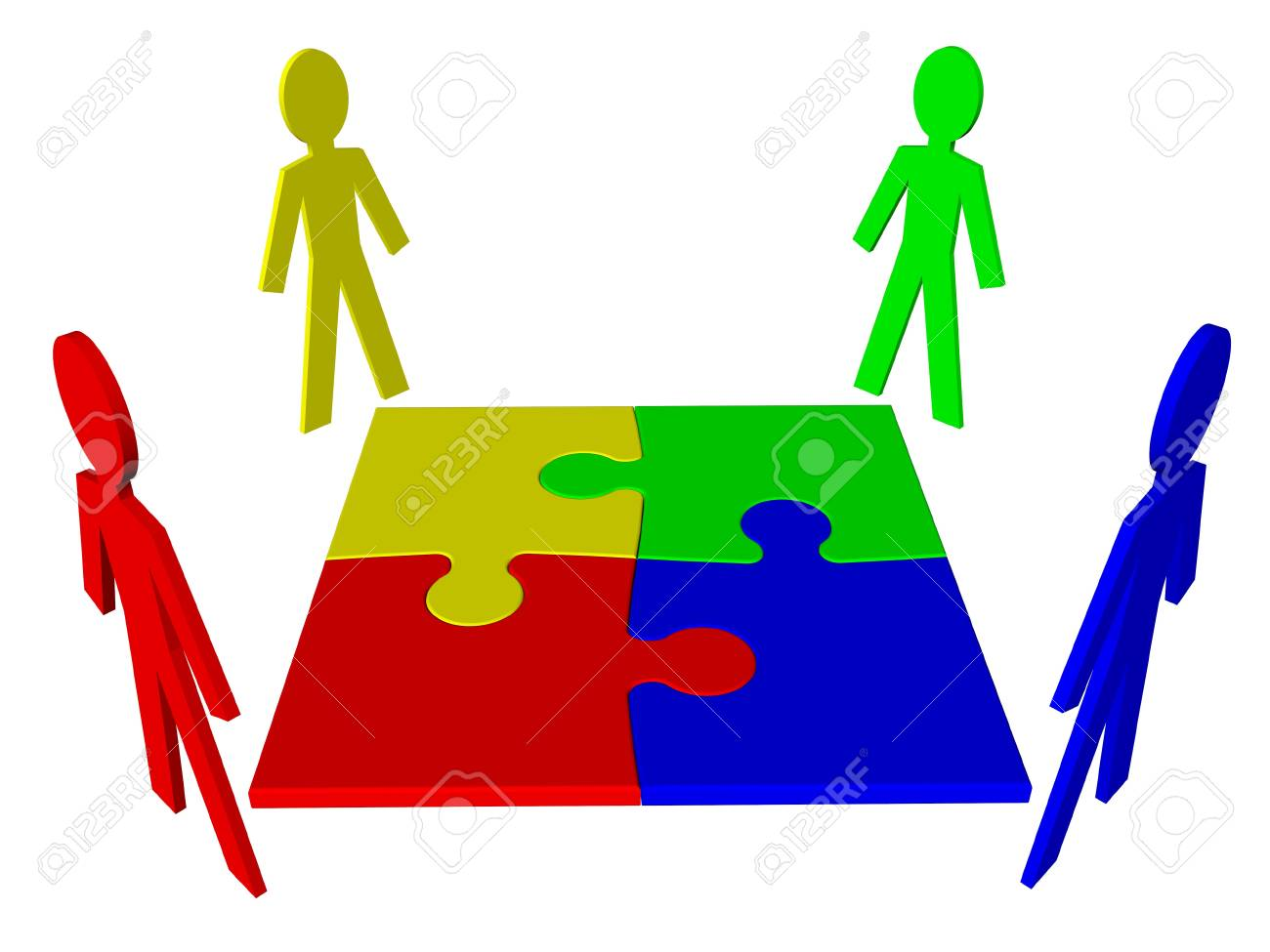 Teamwork - characters and puzzle Stock Photo - 12995484