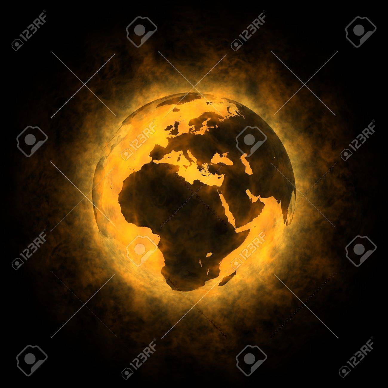 Total warming of planet Earth - Europe Africa and Asia Stock Photo - 12995516