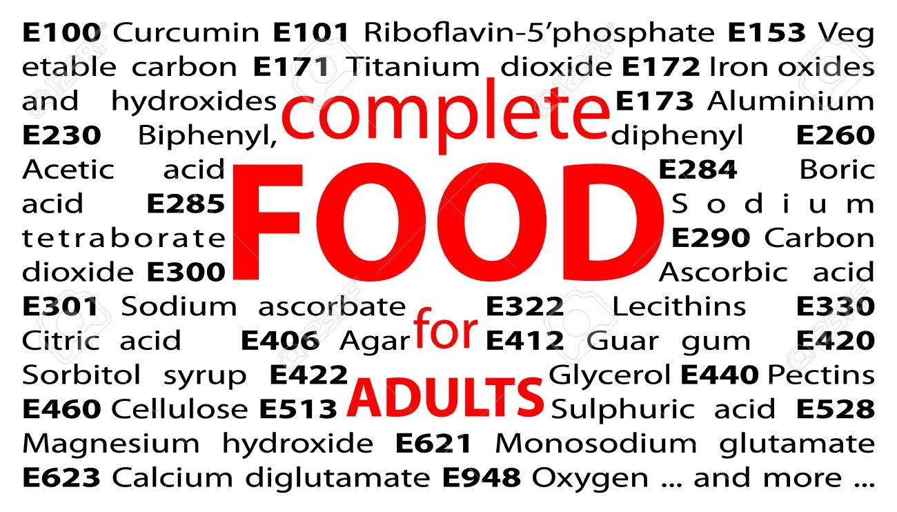 E-numbers - food additives Stock Photo - 13933430