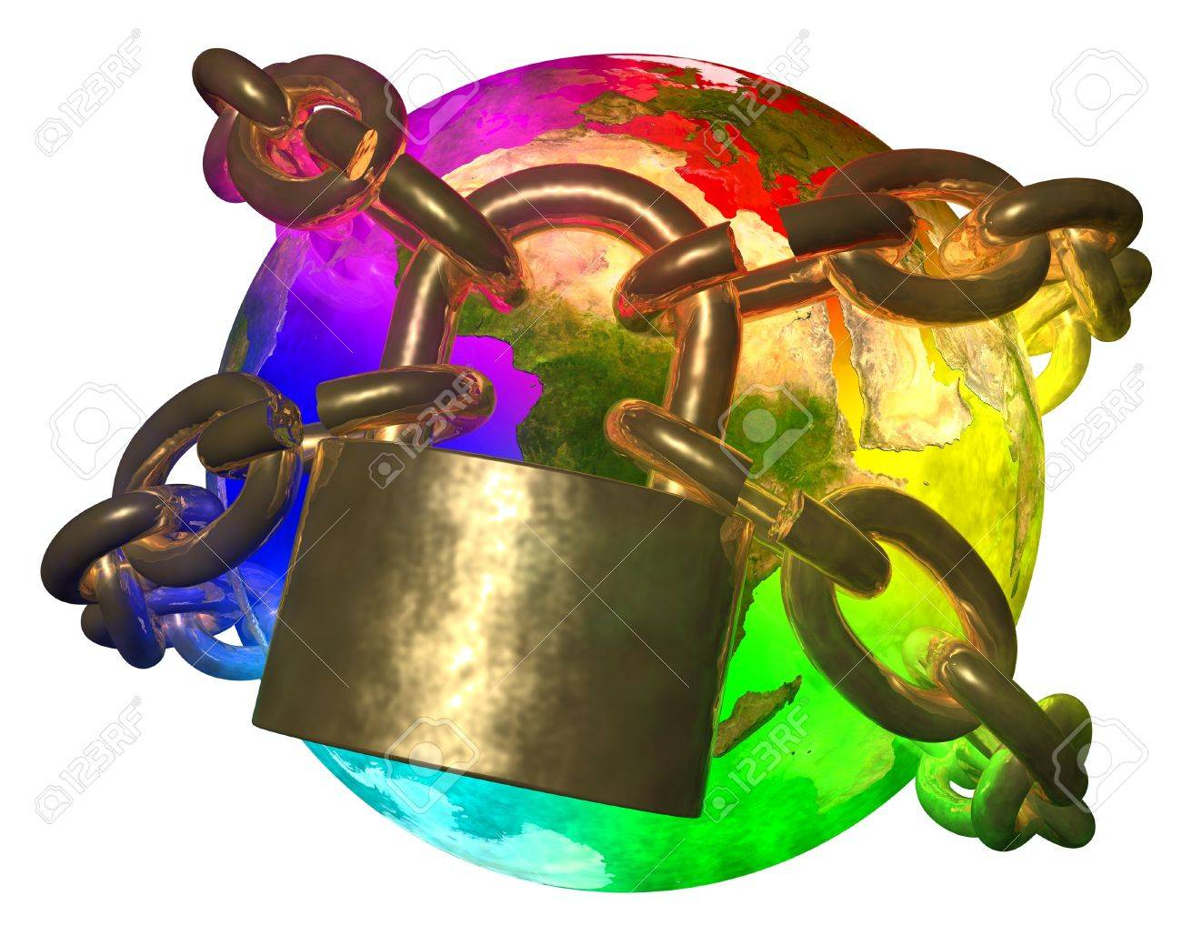 Rainbow Earth breaking golden chain - transformation of world Stock Photo - 18725465