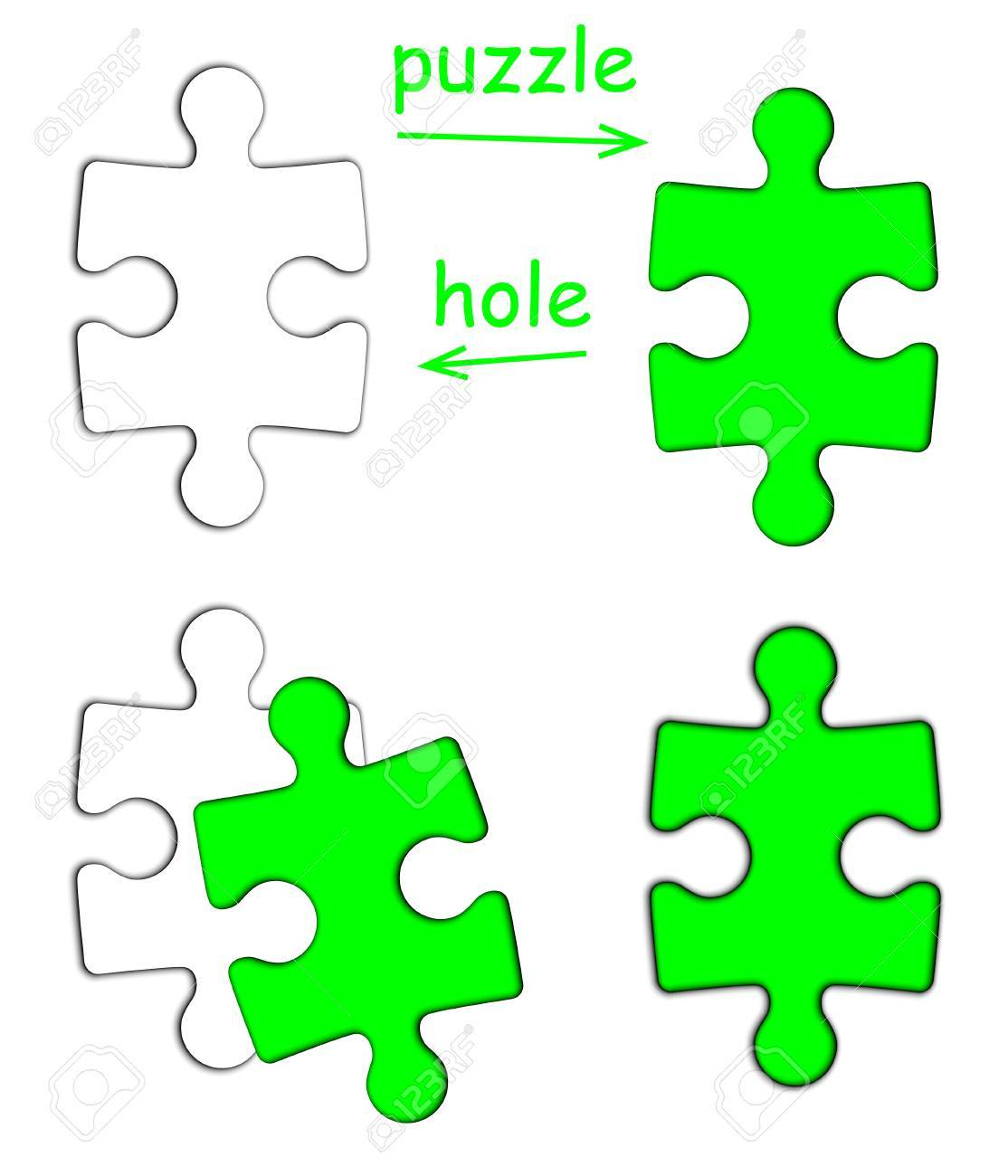 Puzzle piece and puzzle hole isolated on white background Stock Photo - 20103003