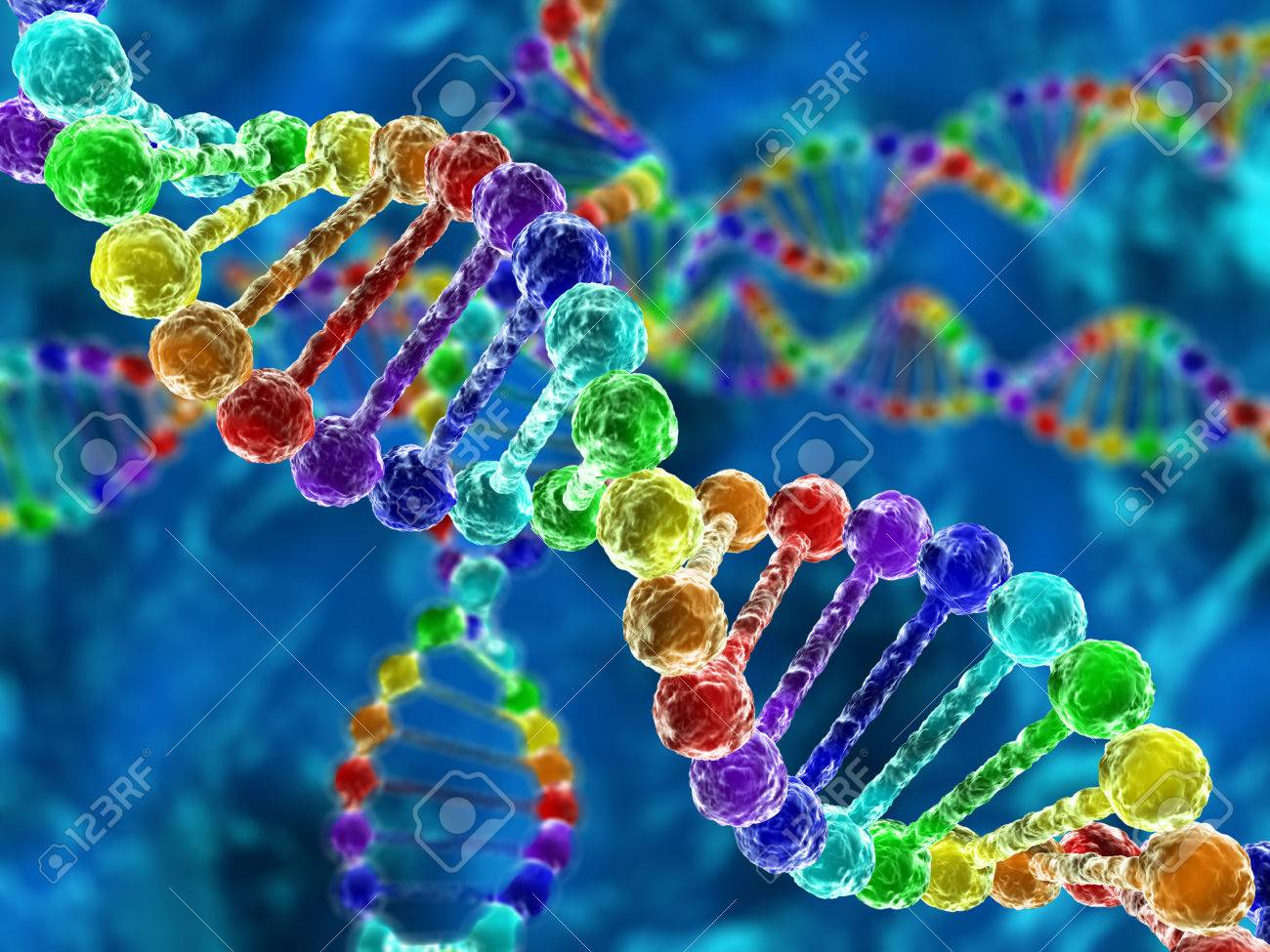 Rainbow DNA (deoxyribonucleic acid) with defocus on background - 36295199