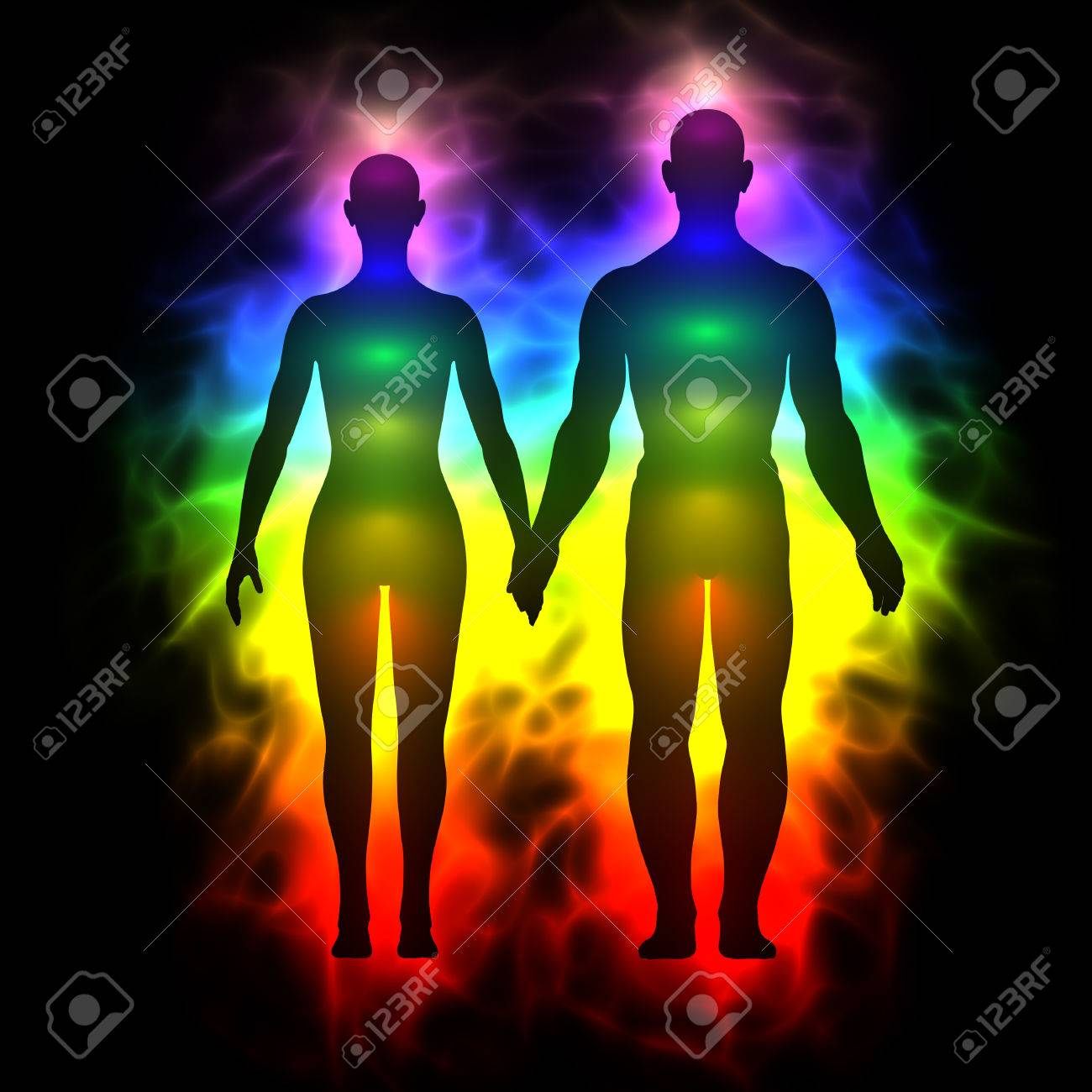 rainbow aura of woman and man stock photo picture and royalty free
