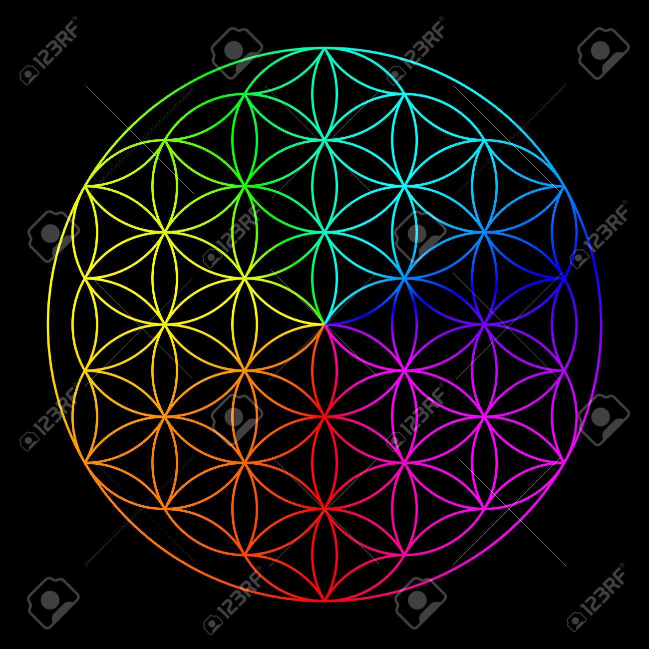Arco Iris De La Flor De La Vida Símbolo De La Geometría Sagrada