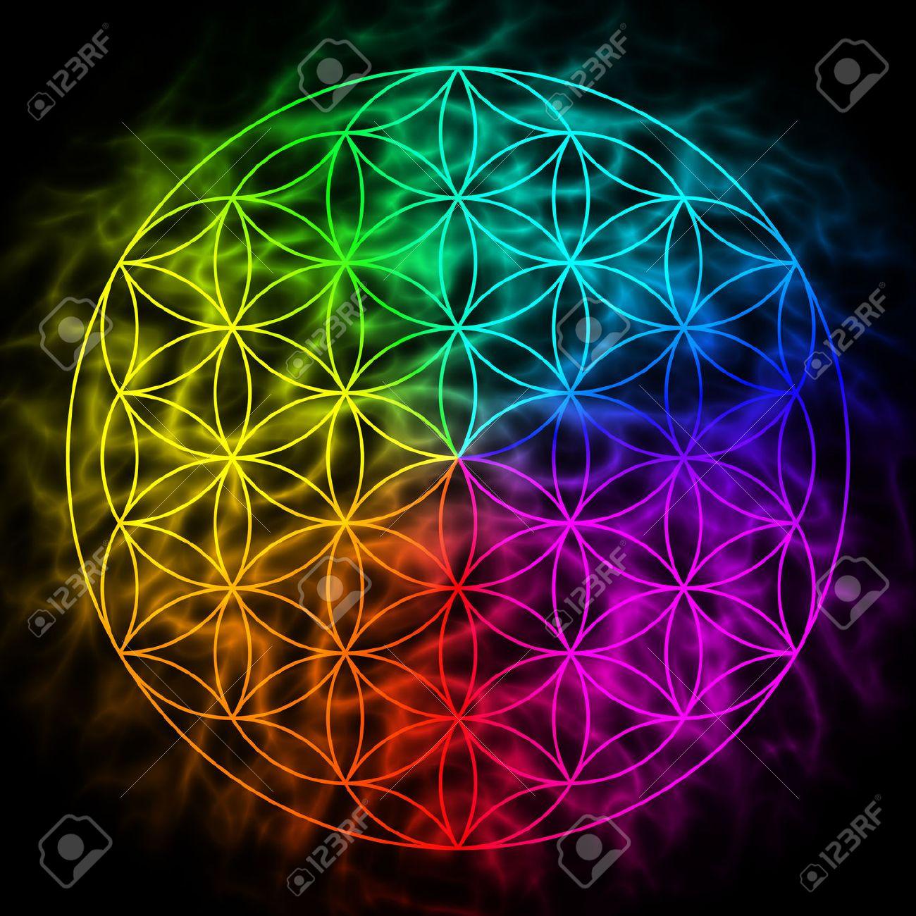 Arco Iris De La Flor De La Vida Con Aura Símbolo De La Geometría