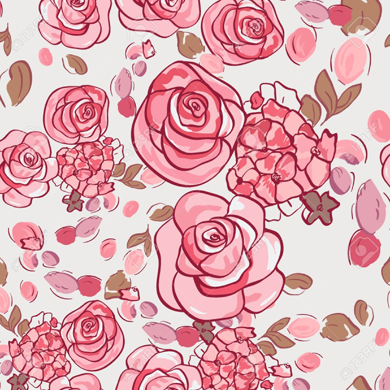 Vector seamless floral pattern with roses Stock Vector - 12327813