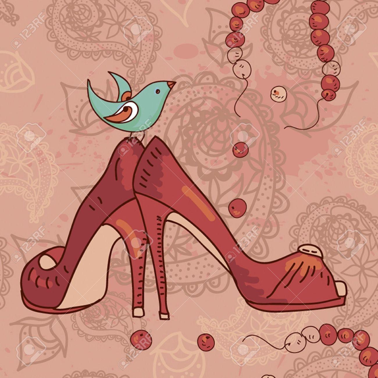 靴 おしゃれな現代の鳥の壁紙や織物でペイズリー柄のイラスト素材 ベクタ Image