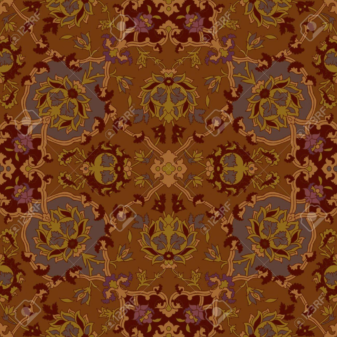 Seamless Paisley Or Oriental Rug Vector Geometric Pattern Background