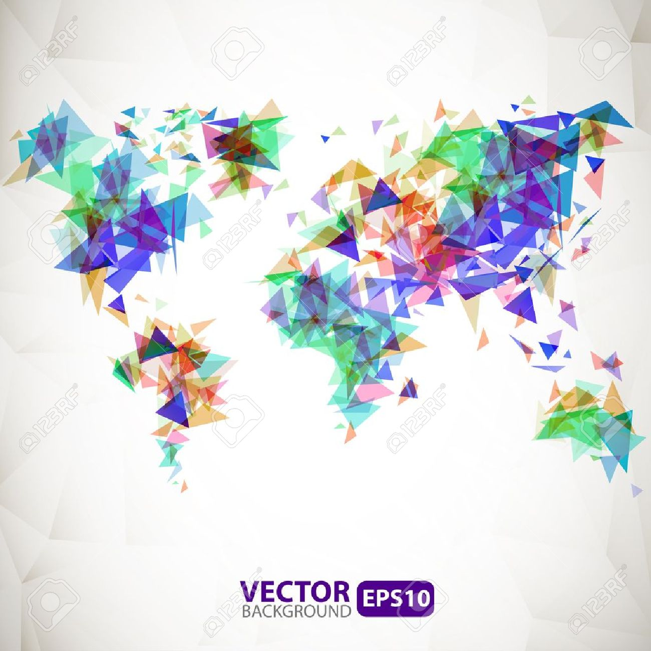 Abstract triangle world map with explosion Stock Vector - 22007539
