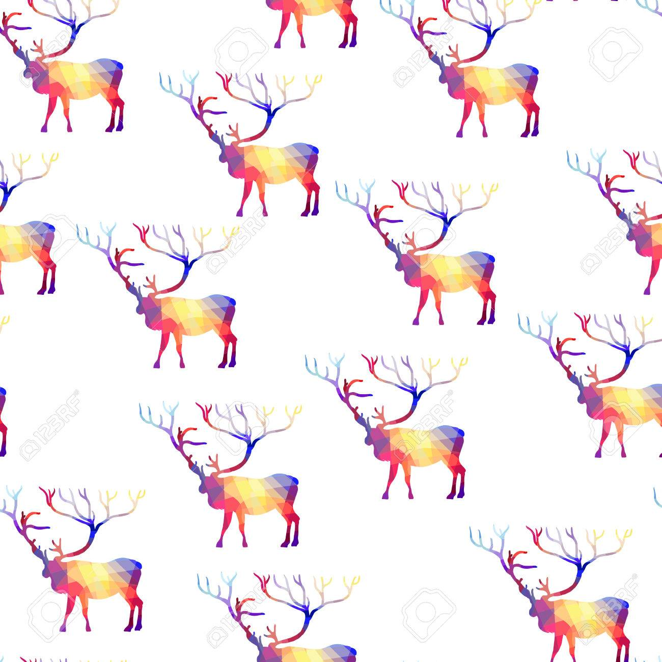 Seamless background with geometric deer Stock Vector - 22188918