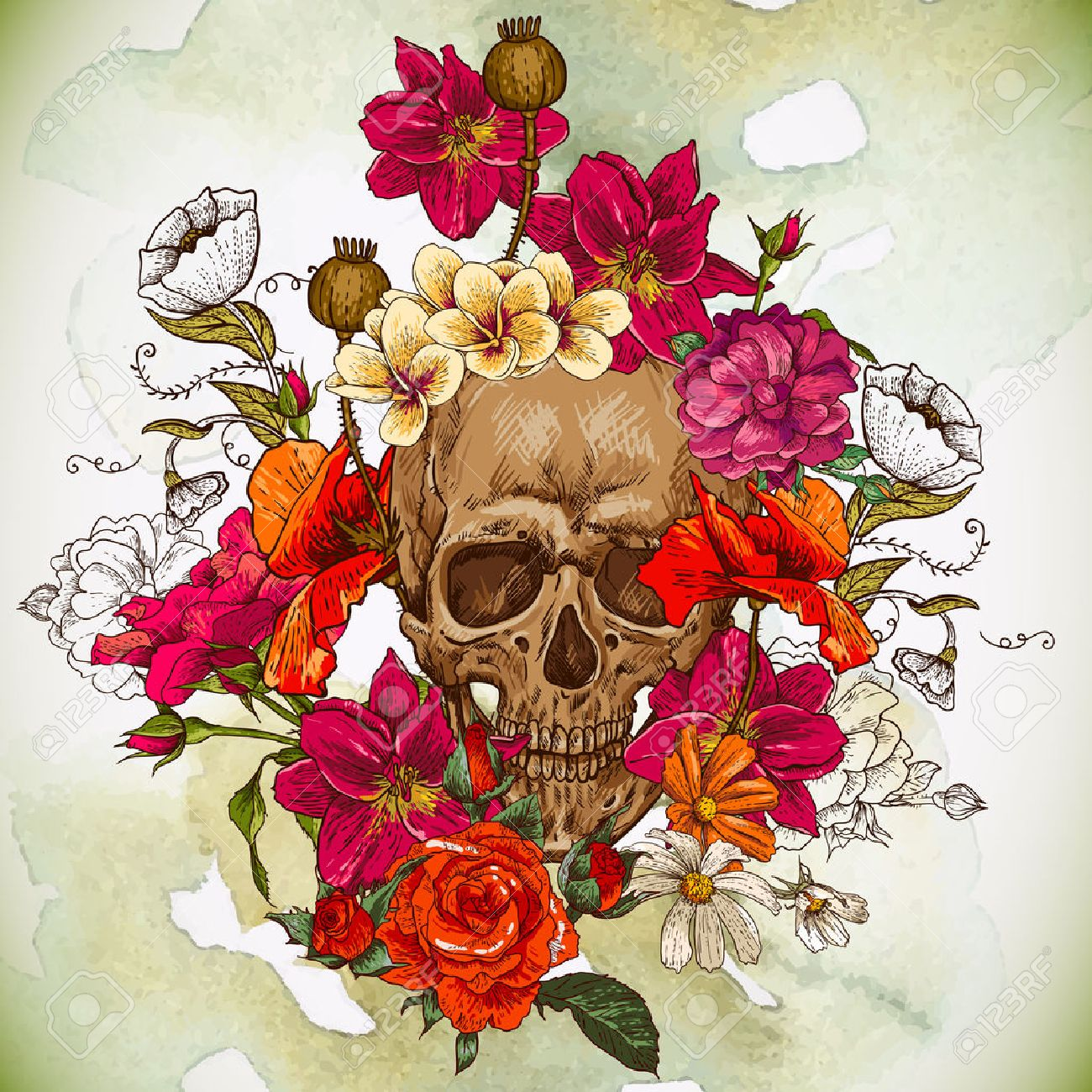 skull and flowers day of the dead royalty free cliparts, vectors, Beautiful flower