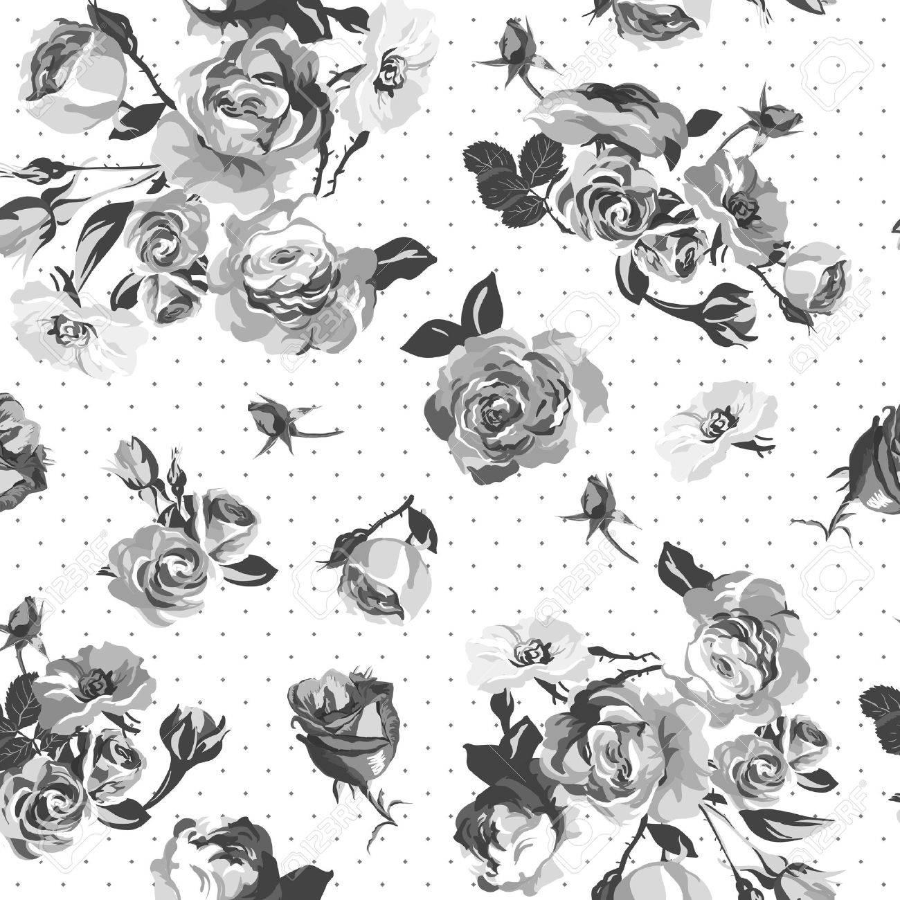 ビンテージ白黒バラ パターンのイラスト素材ベクタ Image 27375656