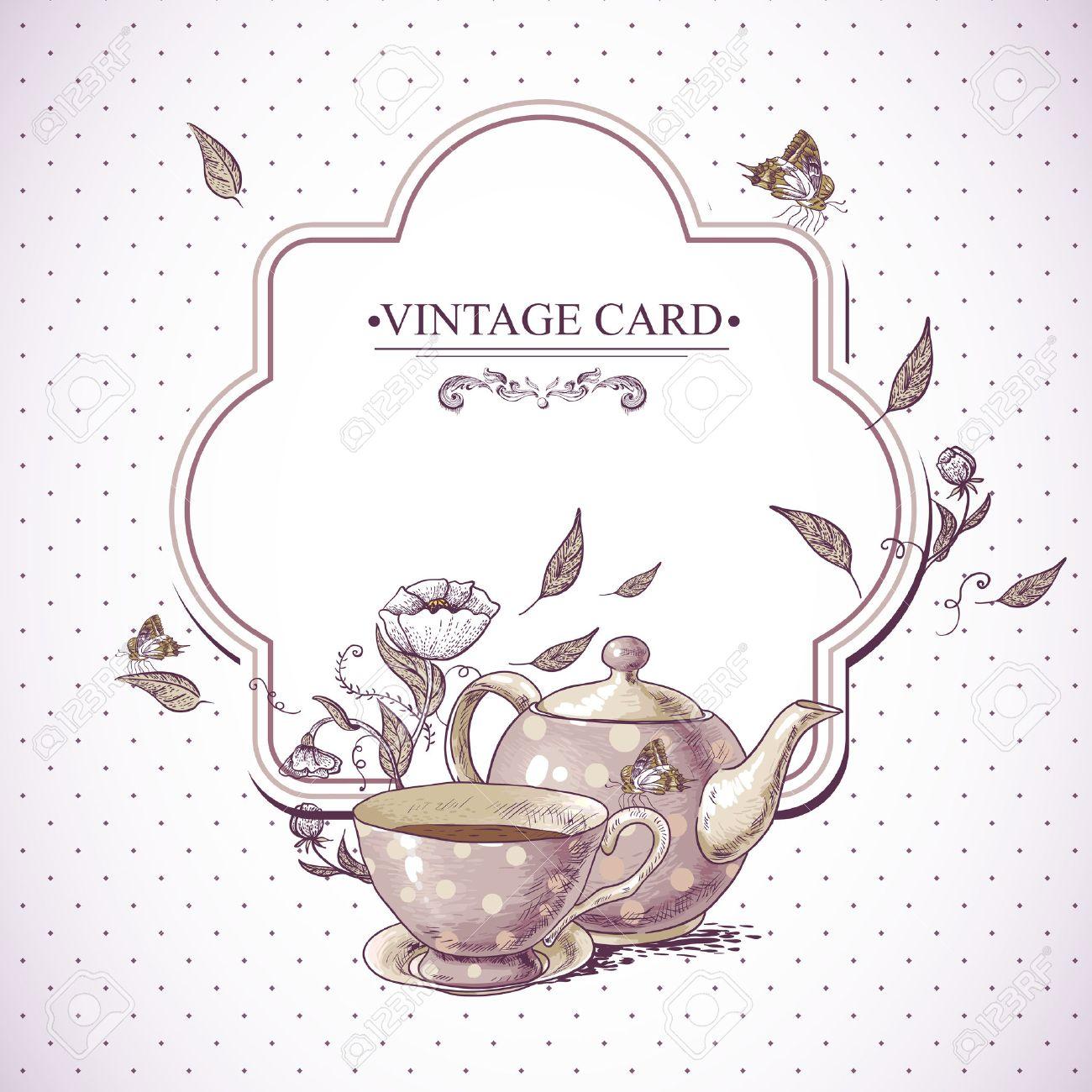 einladung vintage-karte mit einer tasse tee oder kaffee, topf, Einladung