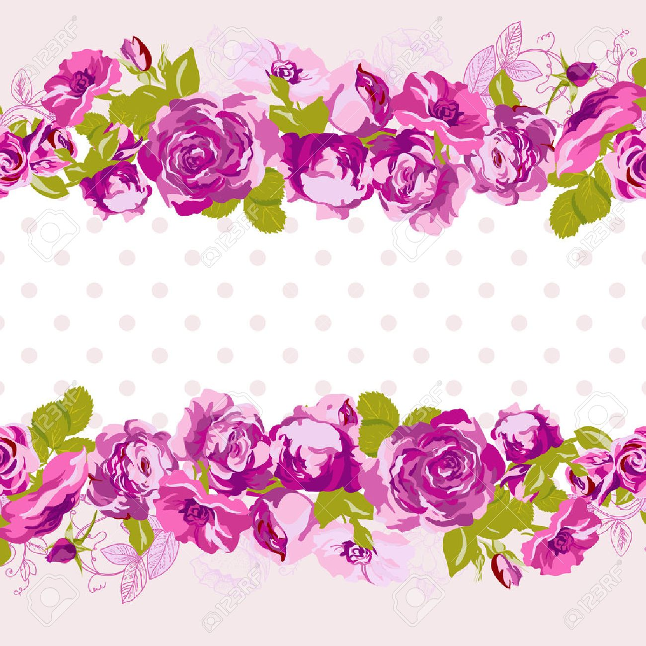 Seamless border of blossom roses vector floral greeting card seamless border of blossom roses vector floral greeting card spring background for wedding stopboris Image collections