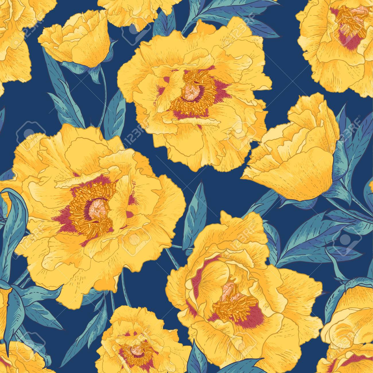 Tropical Seamless Pattern With Yellow Flowers Royalty Free Cliparts