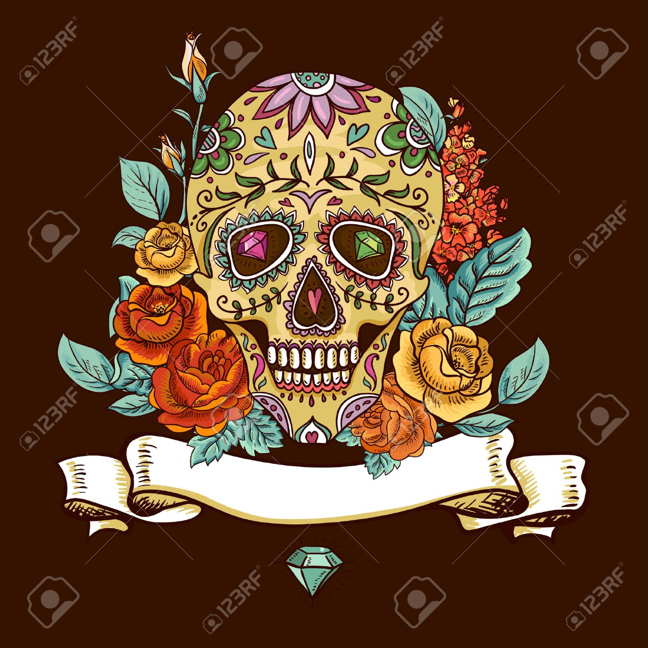 Skull and Flowers Day of The Dead - 30820183