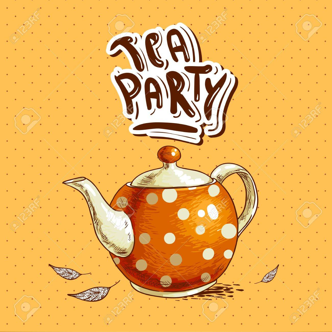 Tea Party Invitation Card With A Cups And Pot Royalty Free Cliparts ...