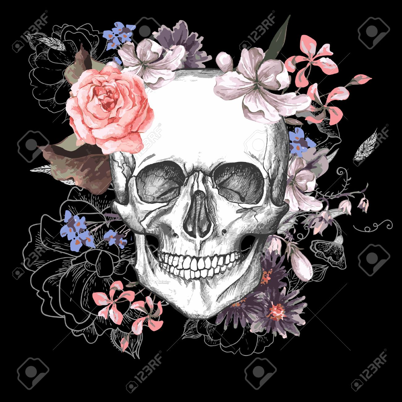 76945 gothic stock vector illustration and royalty free gothic clipart skull and flowers day of the dead illustration kristyandbryce Images