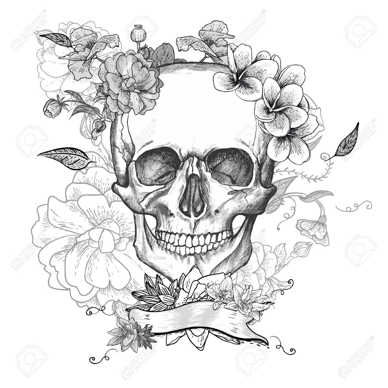 Эскиз тату черепа с цветами