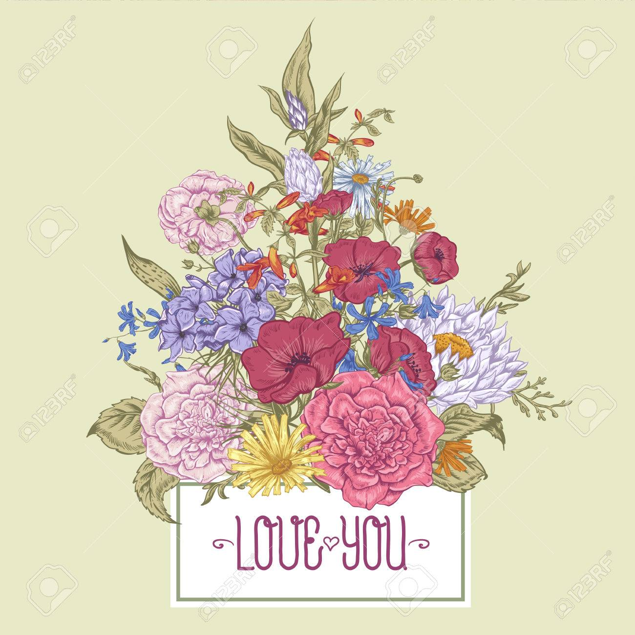 Gentle Retro Summer Floral Greeting Card Vintage Bouquet Vector