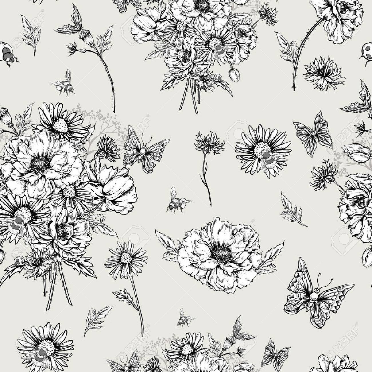Summer Monochrome Vintage Floral Seamless Pattern With Blooming ...
