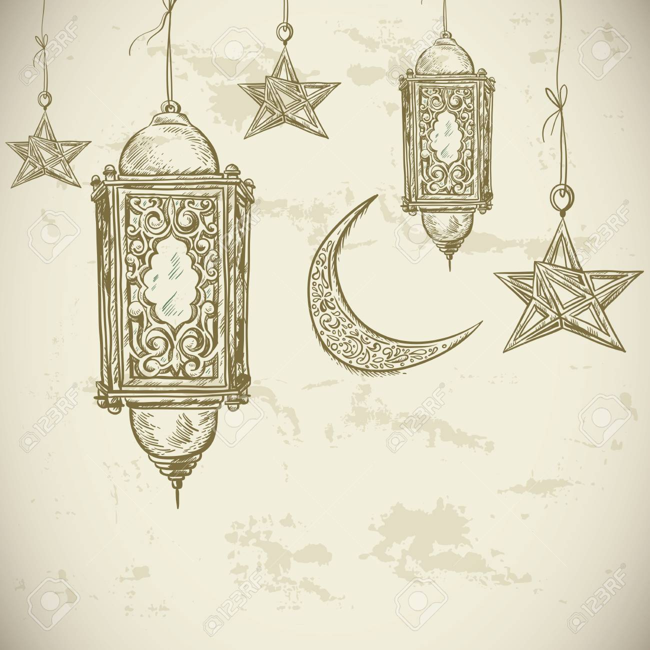 Traditional Greeting Card With Arabic Lantern And Stars, Ramadan ... for Ramadan Lamp Drawing  5lpkxo