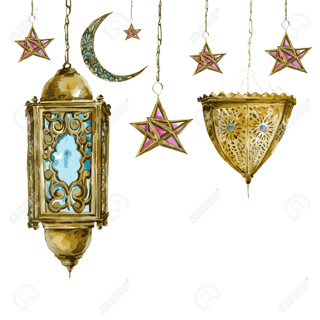 Traditional Watercolor Greeting Card With Arabic Lantern, Stars ... for Ramadan Lantern Clipart  299kxo