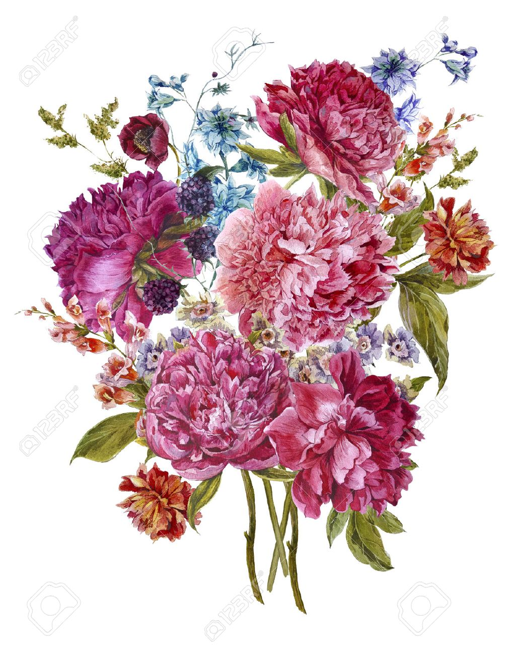Gentle summer floral bouquet with burgundy peonies hyacinths gentle summer floral bouquet with burgundy peonies hyacinths blackberry and wild flowers in vintage dhlflorist Choice Image