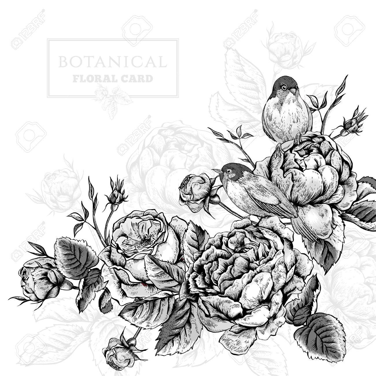 Blanco Y Negro Tarjeta Floral Botanico En El Estilo Vintage Con