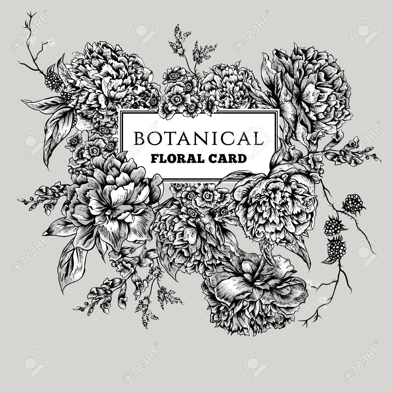 Vintage Floral Black And White