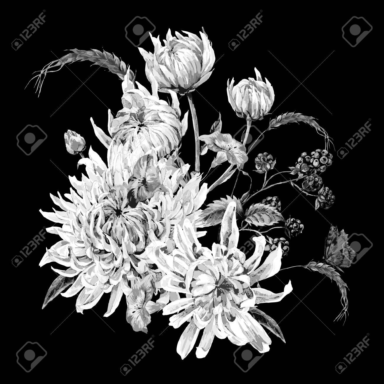 Black And White Vintage Floral Card With Bouquet Of Chrysanthemums Wild Flowers Butterflies