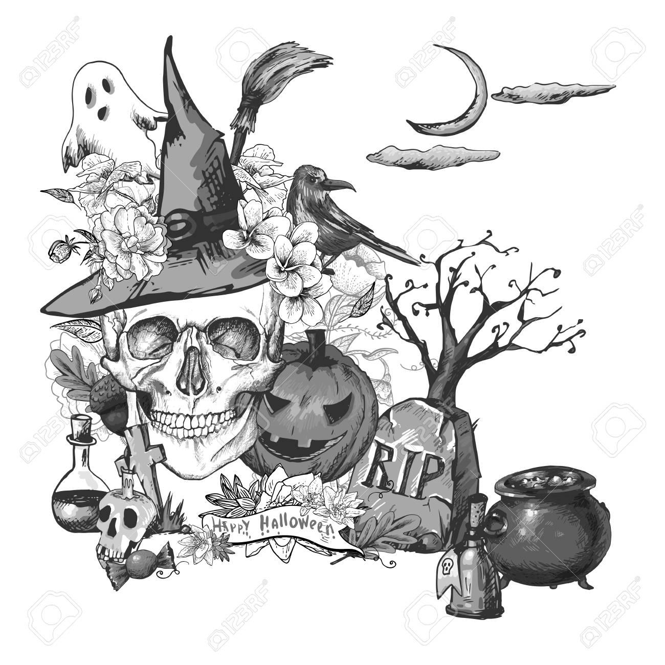 Halloween Vintage Clipart.Black And White Vintage Hand Drawn Halloween Invitation Card