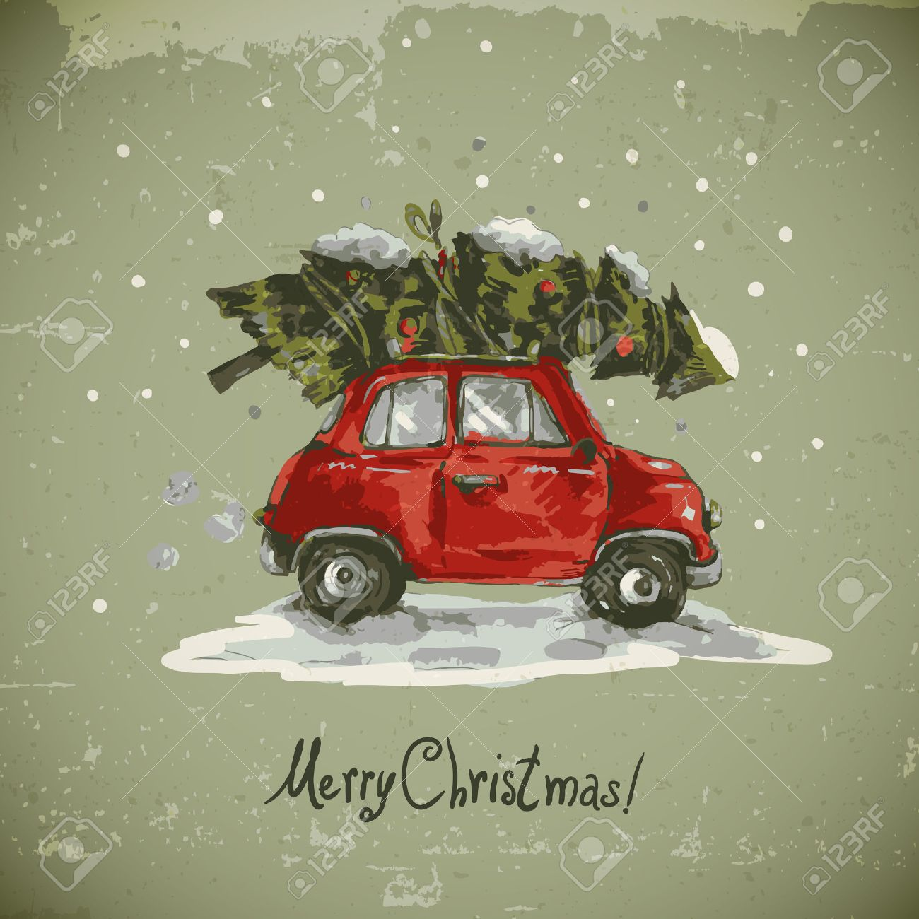 Car Christmas.Winter Greeting Card With Red Retro Car Christmas Tree Vintage