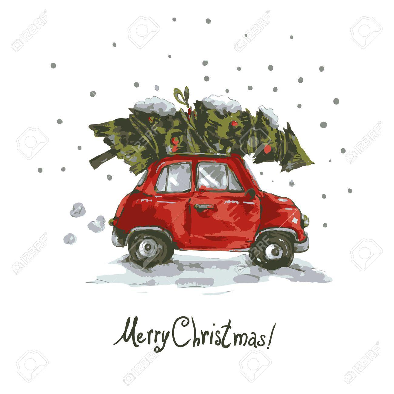 Immagini Di Natale Vintage.Biglietto Di Auguri Di Inverno Con Auto Retro Rosso Albero Di Natale Vintage Vettoriale Buon Natale E Felice Anno Nuovo Illustrazione