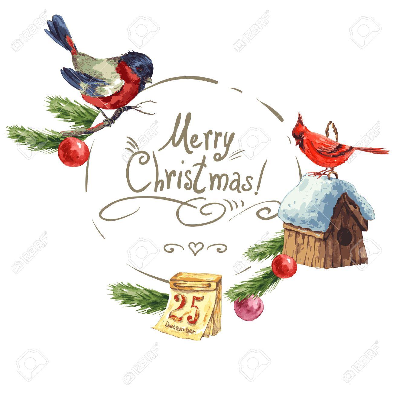 Winter Greeting Card With Bullfinch Birdhouse Christmas Tree