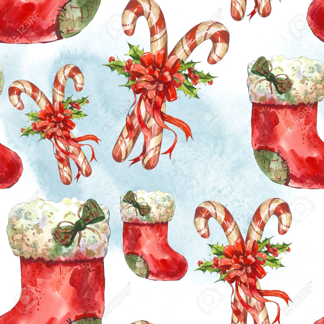 Watercolor Seamless Pattern With Christmas Socks Ribbon Candy