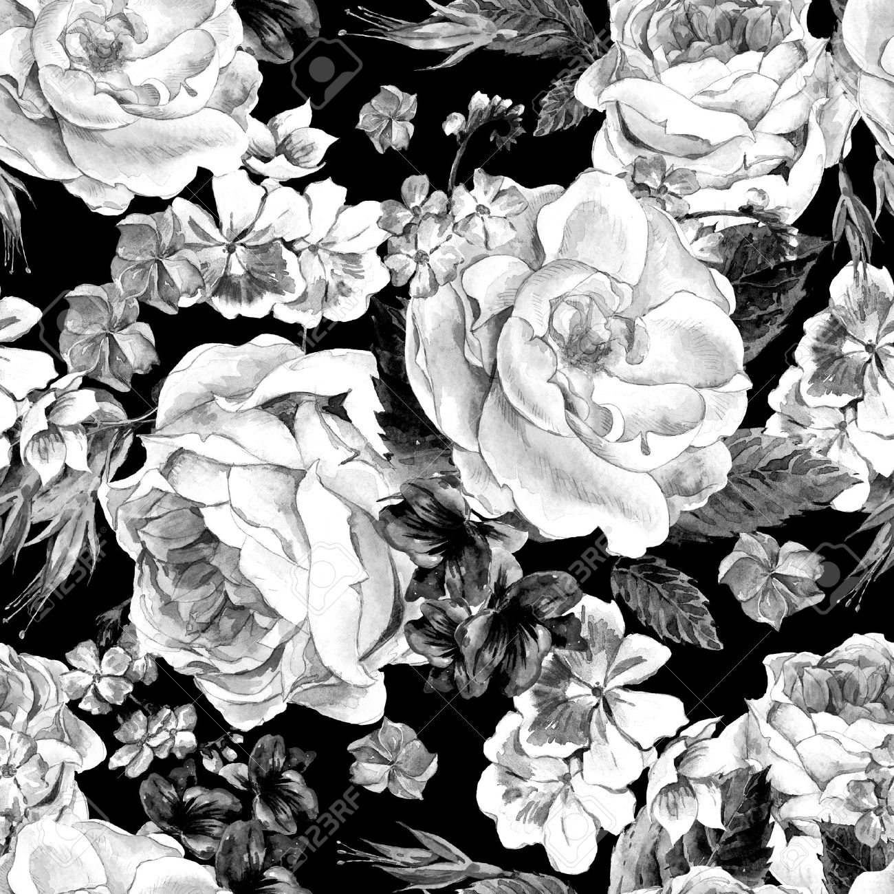 Black and white seamless pattern with floral bouquet of roses black and white seamless pattern with floral bouquet of roses white daisy and blue wild dhlflorist Images