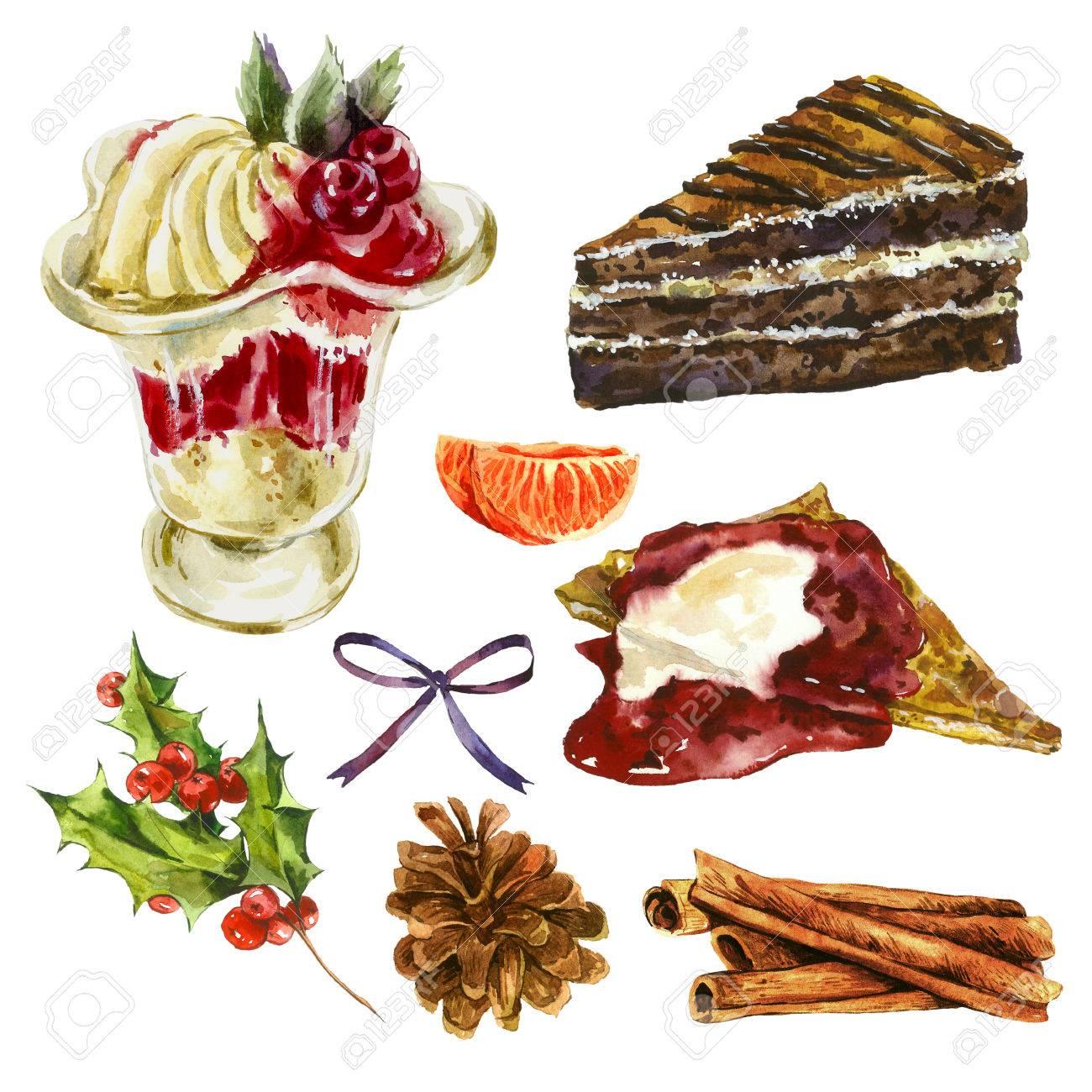 Set Aquarell Weihnachten Elemente Kuchen Pfannkuchen Mit Marmelade