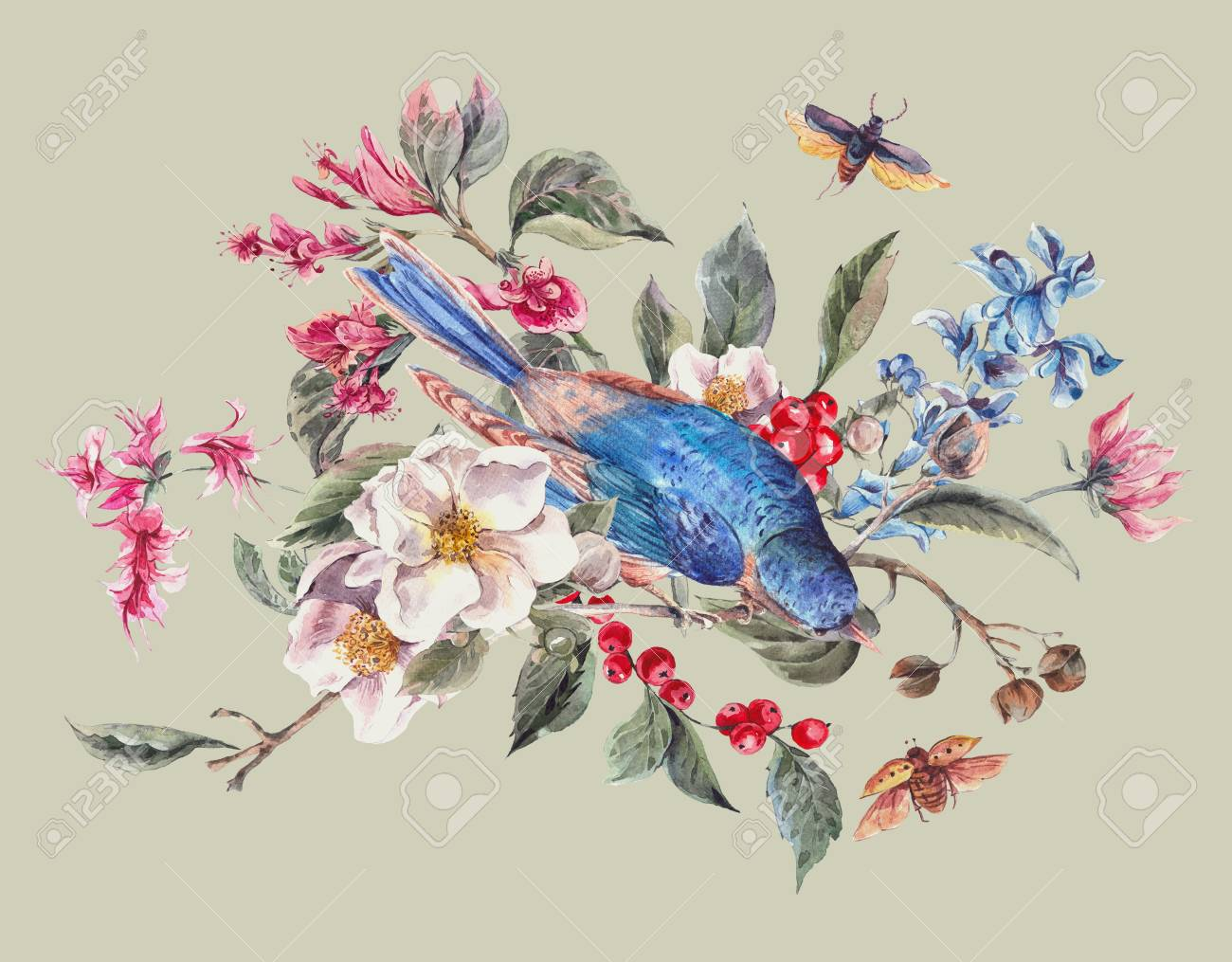 Watercolor Spring Vintage Greeting Card With Gentle Pink