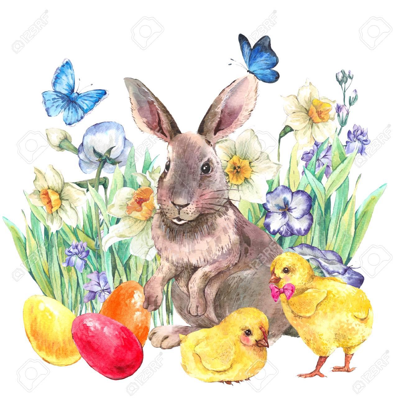 Aquarell Vintage Frohe Ostern Grußkarte Mit Niedlichen Hasen