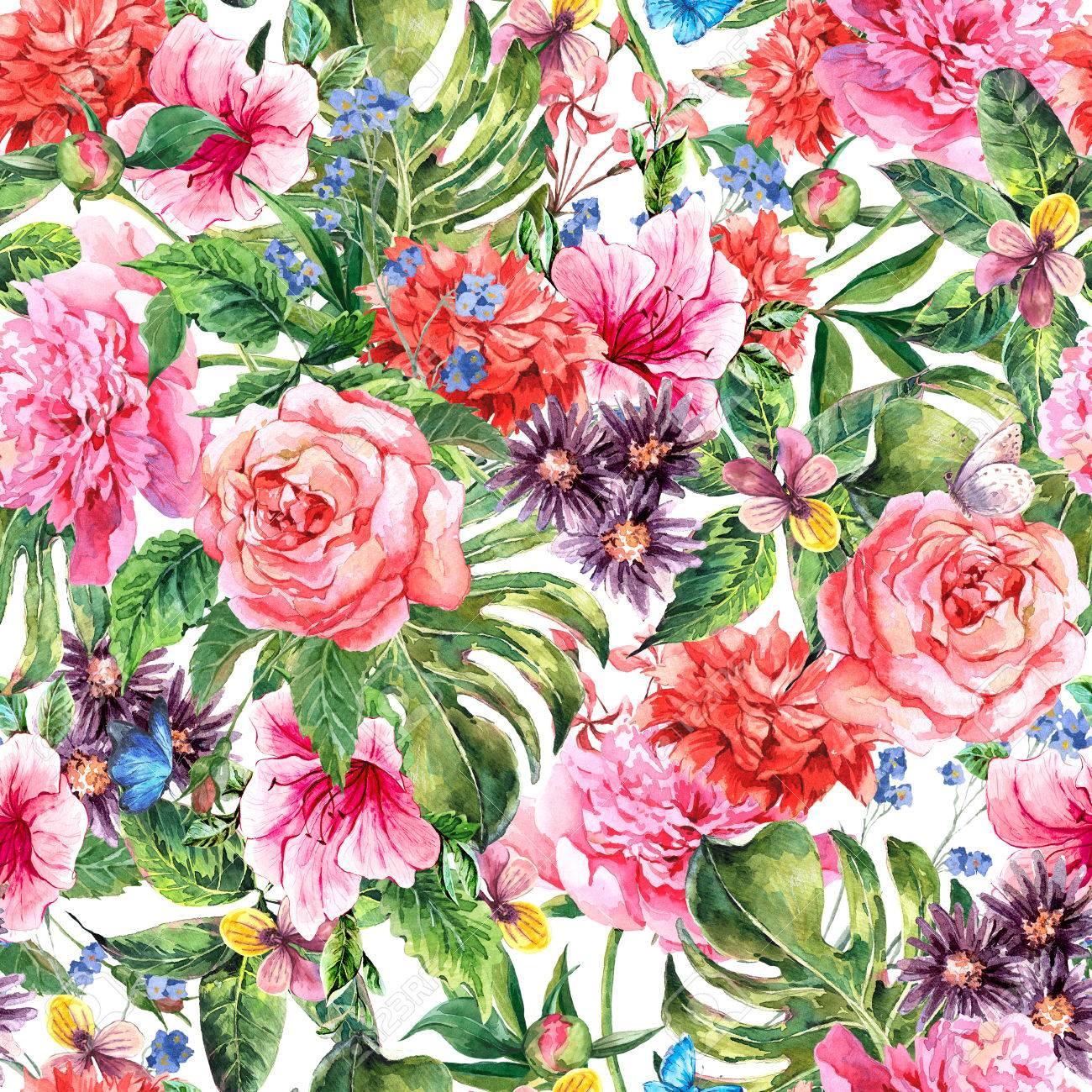 pfingstrose zeichnen blumen zeichnung, sommer hand zeichnen aquarell floral nahtlose muster mit blühenden, Design ideen