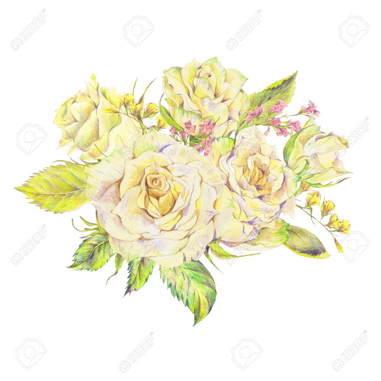 Ramo De Flores Dibujado A Mano Con Rosas Blancas Y Flores Silvestres