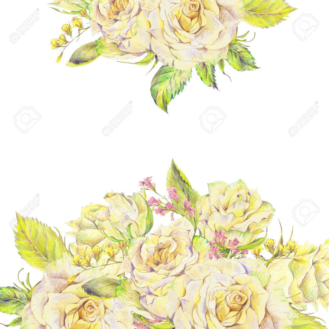 Ramo Dibujado Mano Floral Con Rosas Blancas Y Flores Silvestres