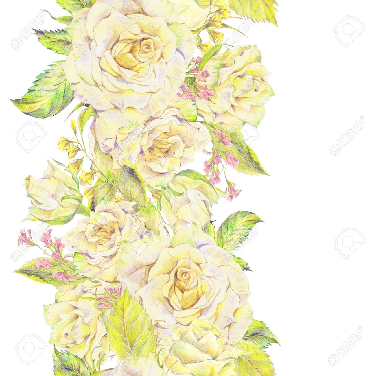 Dibujado A Mano Floral Inconsútil De La Frontera Con El Ramo De