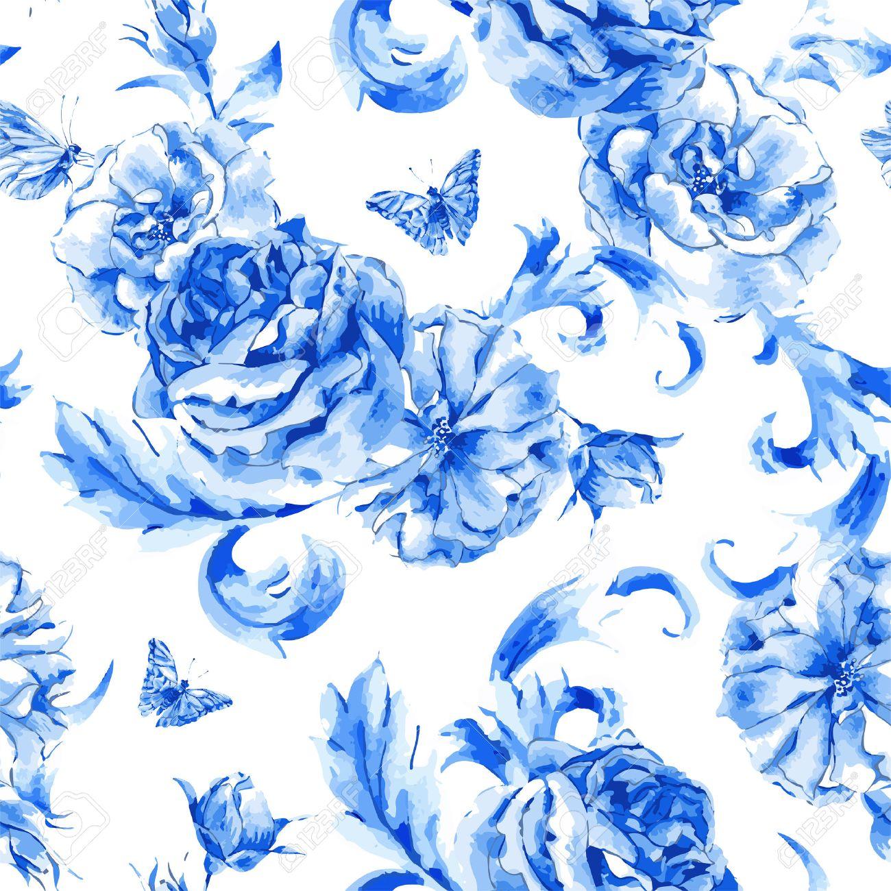 Verano época Perfecta Patrón De Rosas Azules Y Mariposas En Estilo
