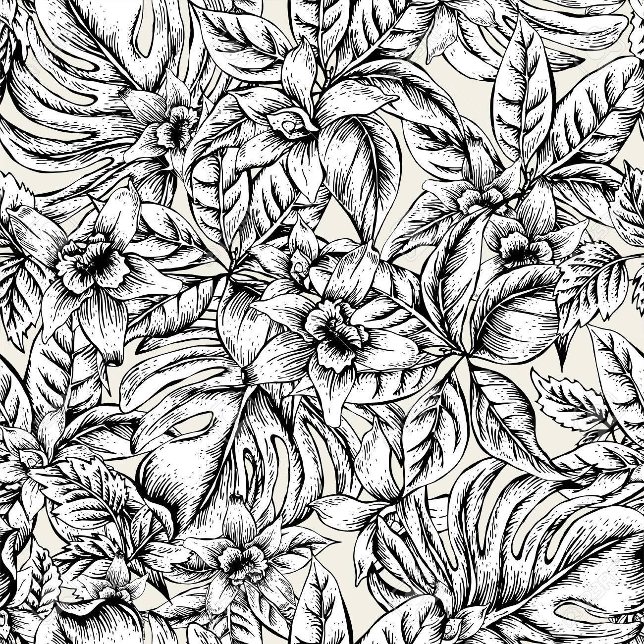 Flores Naturales Deja El Modelo Inconsutil Del Vector Exotico Flor De La Orquidea En Blanco Y Negro Negro Y Hojas Tropicales Blancas Ejemplo