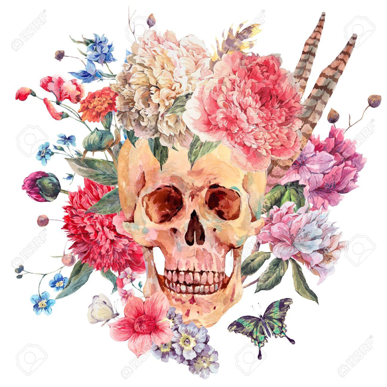 Aquarelle Carte Gothique Avec Le Crane Et De Pivoine Rose Fleurs