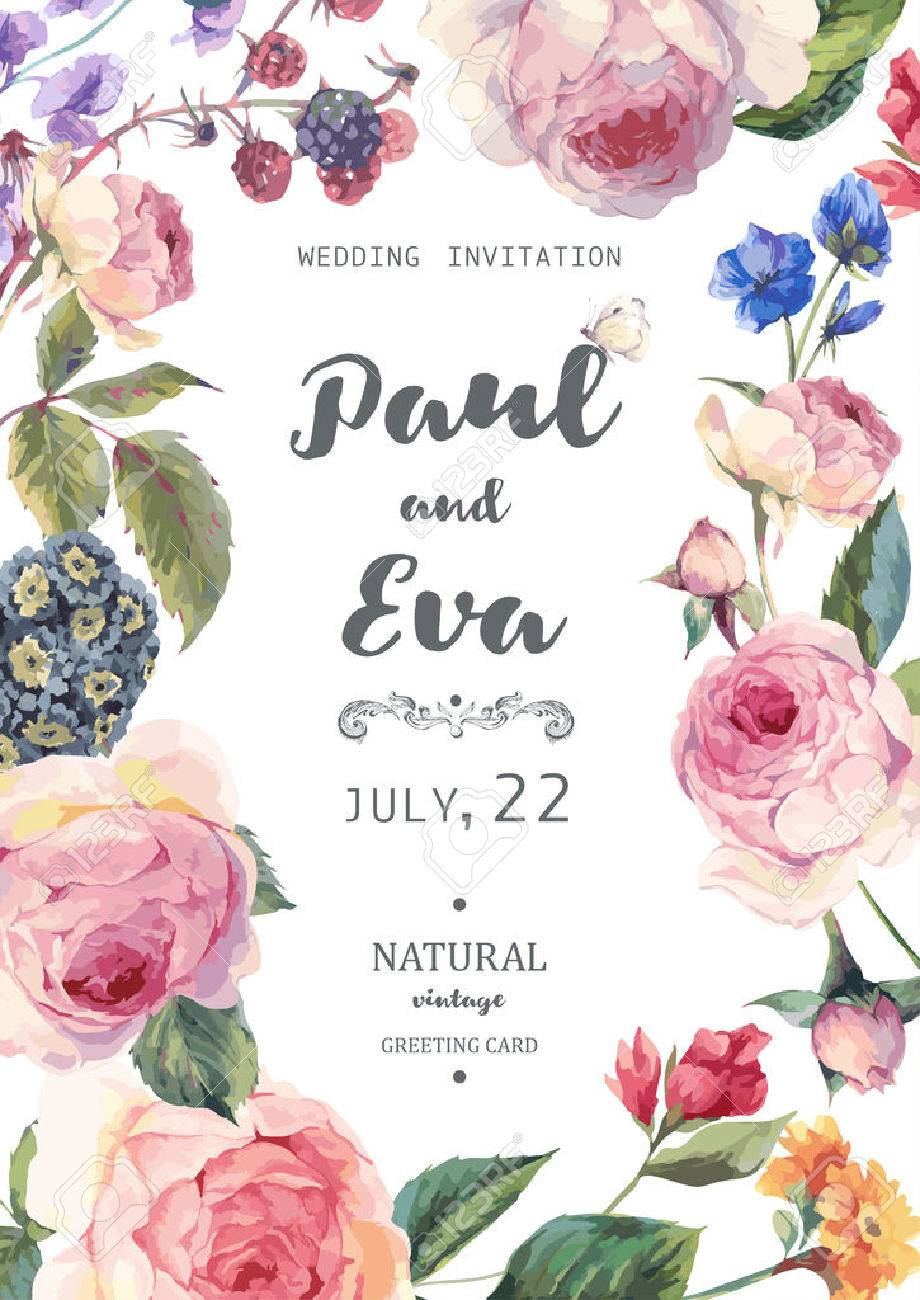 Vintage Floral Vector Wedding Invitation With English Roses And ...