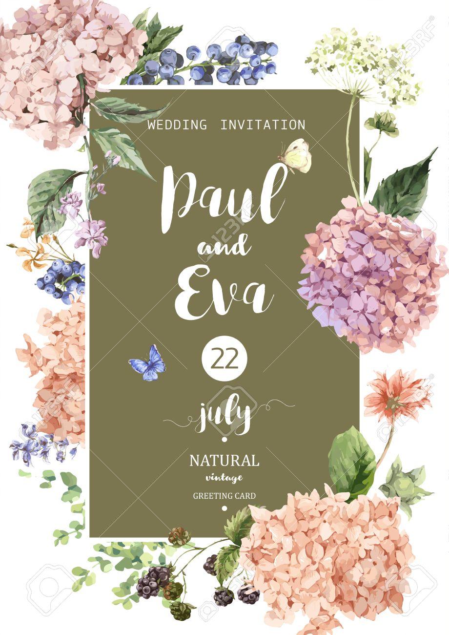 Purple hydrangea wedding invitation sample - Hydrangea Vintage Floral Vector Wedding Invitation With Blooming Hydrangea And Garden Flowers Botanical Natural